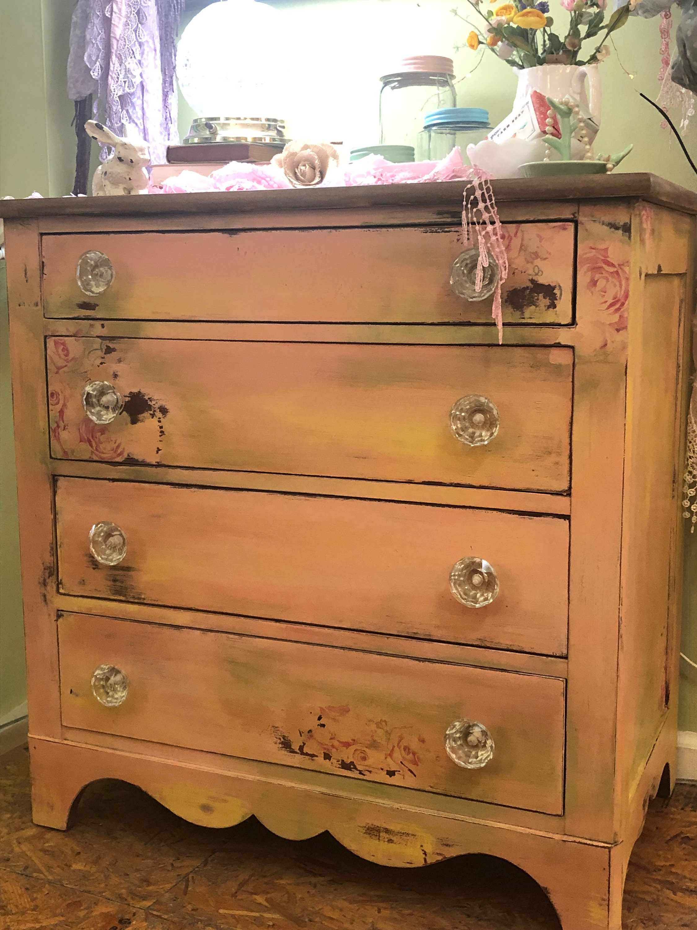 Anna Vintage Whimsical Painted And Decoupaged Shabby Chic Cottage Style Small Chest