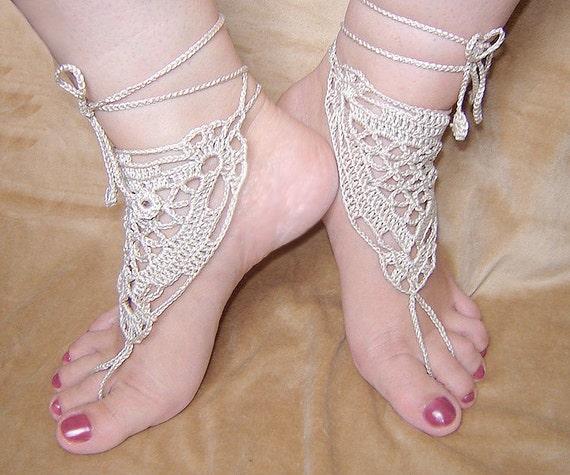 1ac54c6530539 Light beige triangle crochet barefoot sandals.