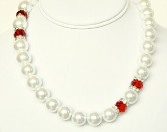 White Pearl Necklace and Red Handmade Beaded Jewelry with Silver Beaded Necklace and Swarovski Pearls