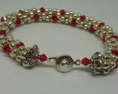 Silver & Red Bracelet