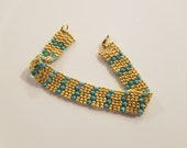 Gold & Aqua Bracelet