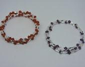 Two Bracelets - Burnt Orange and Purple