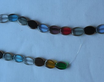 Multi Colored Oval Glass Beads with Gold Trim