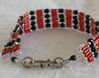 Black and Red Handstitched Bracelet