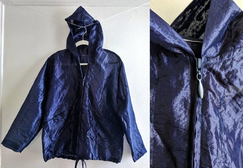 57917156f8791 Sheer Shiny Purple-ish Midnight Blue Windbreaker Style Hooded Jacket