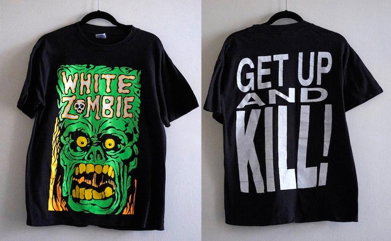 3066026fe7940 Rare Vintage 90s White Zombie Frankenstein Neon Monster on Black T-Shirt