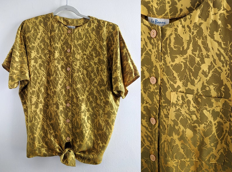 4220331b22ea0 Beautiful Silky Mustard Camo Print 80s Blouse with Shoulder Pads and Ties  at Waist
