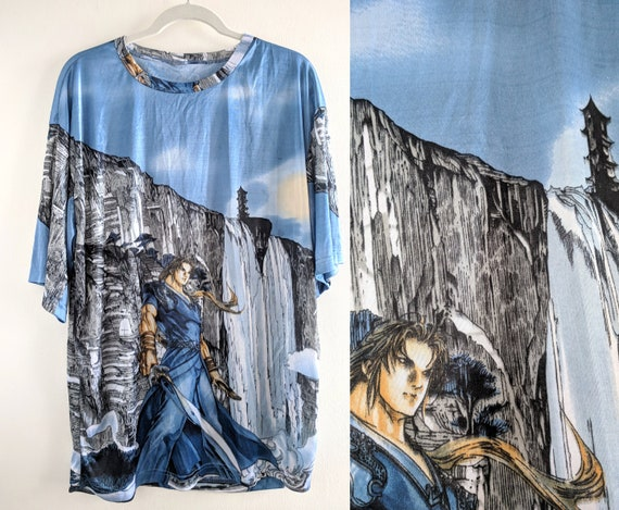 e5706072432ad Shiny Anime Print Silky Baby Blue and Silver T-Shirt