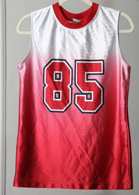 Shiny Red And White 90s Ombre Basketball Jersey Etsy