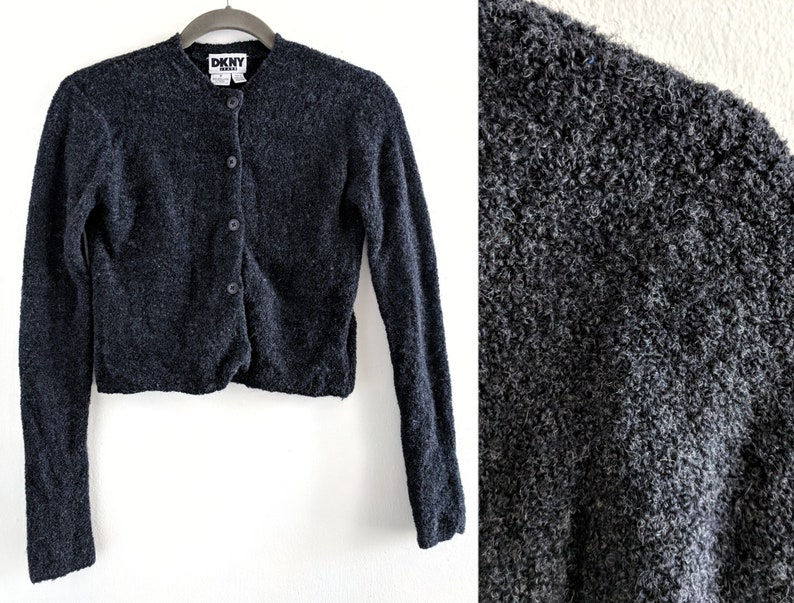 f45be22c1d8a4 90s DKNY Jeans Bouclé Charcoal Grey Stretchy Semi-Cropped Cardigan Sweater