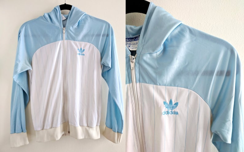 Baby Blue and White 80s Adidas Jacket with Pinstripes and Hood