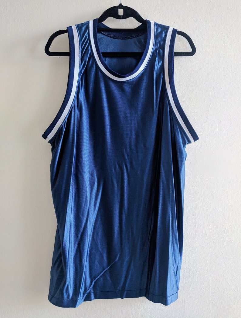 4a7e5b4638a7b Shiny Dark Blue Basketball Jersey 90s Blank Plain No Logo White Ringer