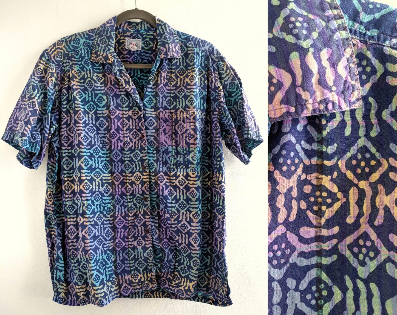 9a19cfd1e6809 80s/90s Surfer Abstract Mud Cloth-Style Print Hawaiian Shirt