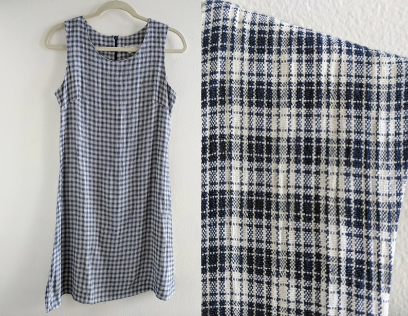47382cff4bbe5 90s Express Plaid Shift Dress Schoolgirl Mini Dress Navy Blue and White -  Compagnie Internationale by Express