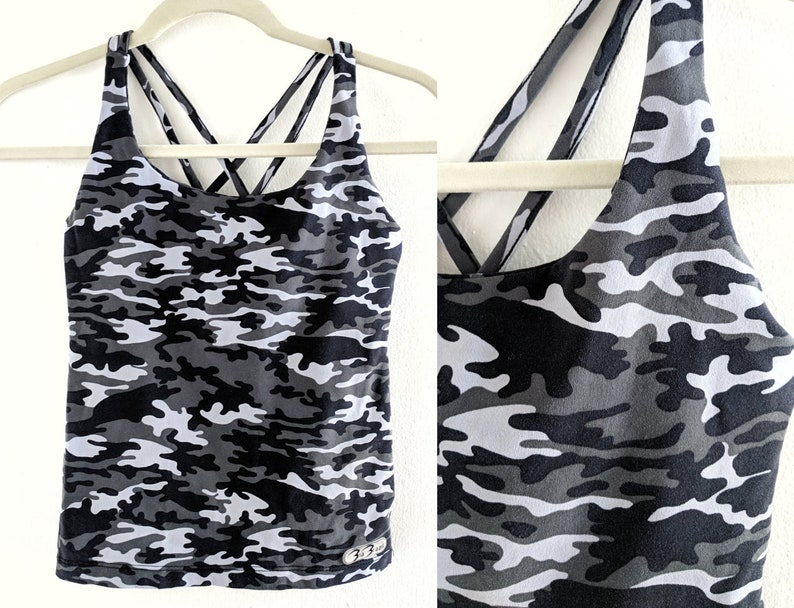 3d6ffb655419e Black and Grey Camo Stretchy Tank Top Athletic Workout