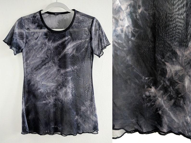 655fa75333af4 Sheer Tie Dye Black and Grey Print Stretchy Mesh T-Shirt