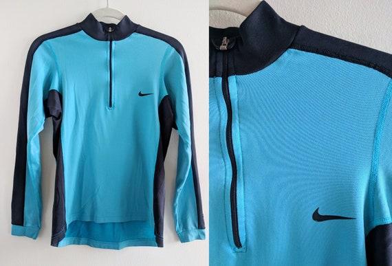 c9df69cec1f19 Aqua Blue and Black Nike Half-Zip Shirt