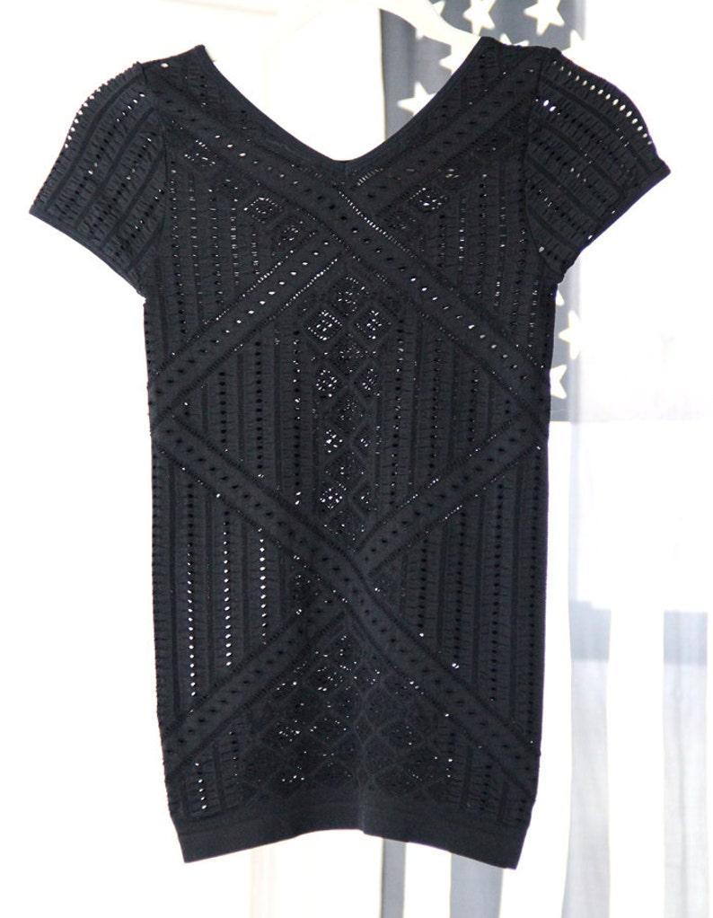 7c8b4256c8ac2 Stretchy Black See-Through Holey V-Neck Shirt