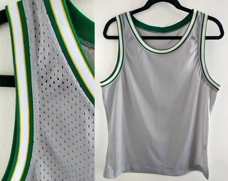 a20c978099d8 Grey and Green Shiny Mesh Blank Basketball Jersey