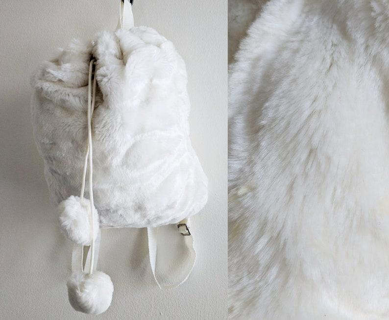 a8da9b18dc50b Soft Creamy White Faux Fur 90s Small Backpack with Pom Poms