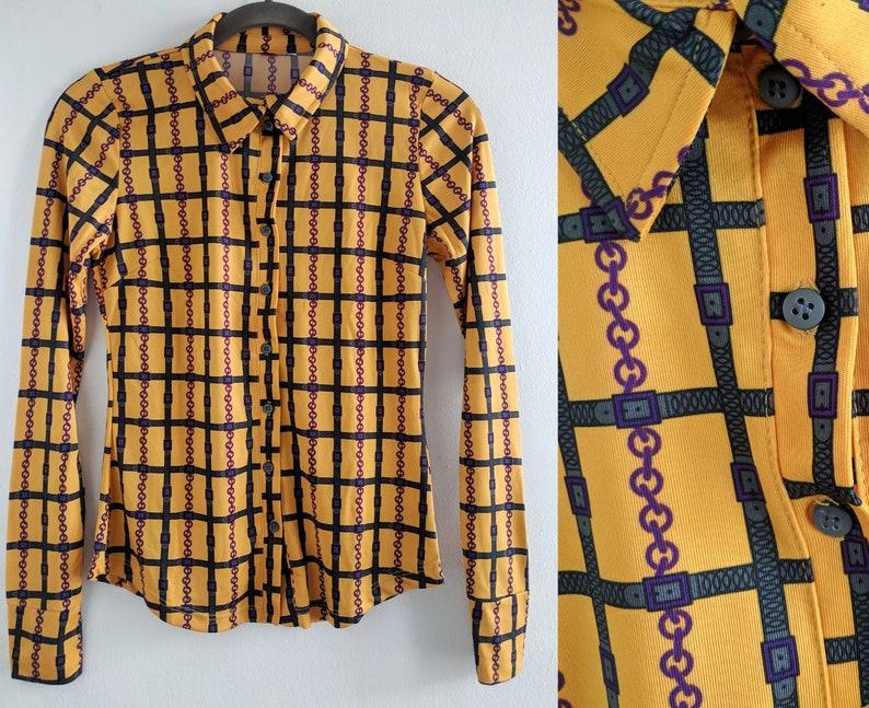9d0bafca89a09 Mustard Yellow Chain Print Button Down Shirt