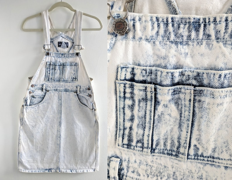 824b4901d53ad Acid Wash Light/White Denim Overall Dress Early 90s/80s Squeeze Brand Denim