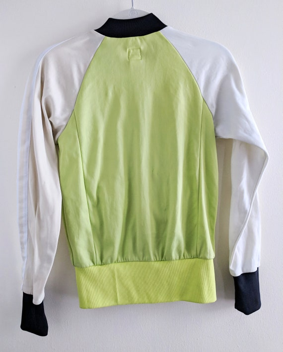 Pastel Neon Green and White Adidas Track Jacket with Black Ringer and Tan Color Blocks