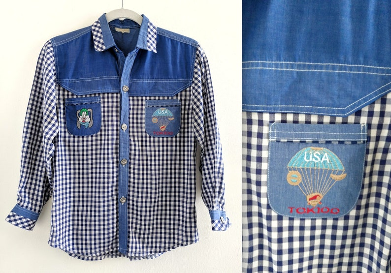 38e950ffda317 Gingham and Denim Weird Embroidered Western Shirt