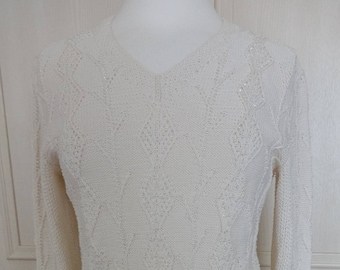 Artwork Ecru Hand Knitted Cotton Sweater With Beading UK 10/12