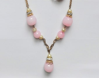 Vintage Czech Lavalier Style Necklace Glass Beads and Diamante