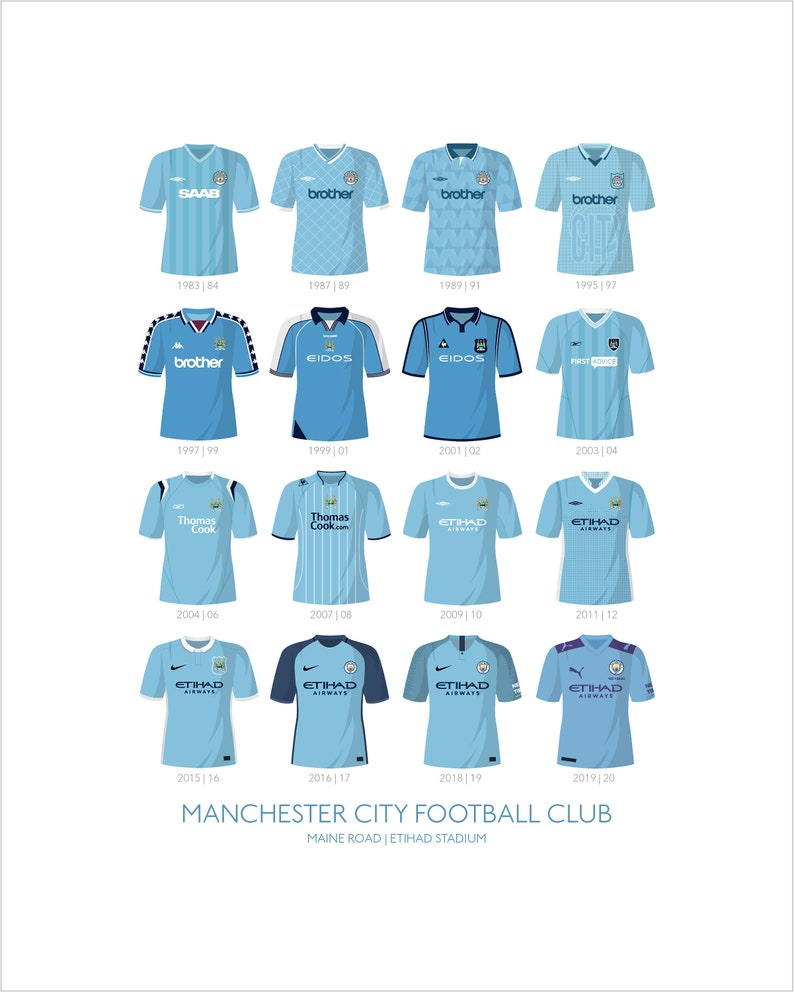 Manchester City Shirts Timeline Illustrated Print  Available image 0