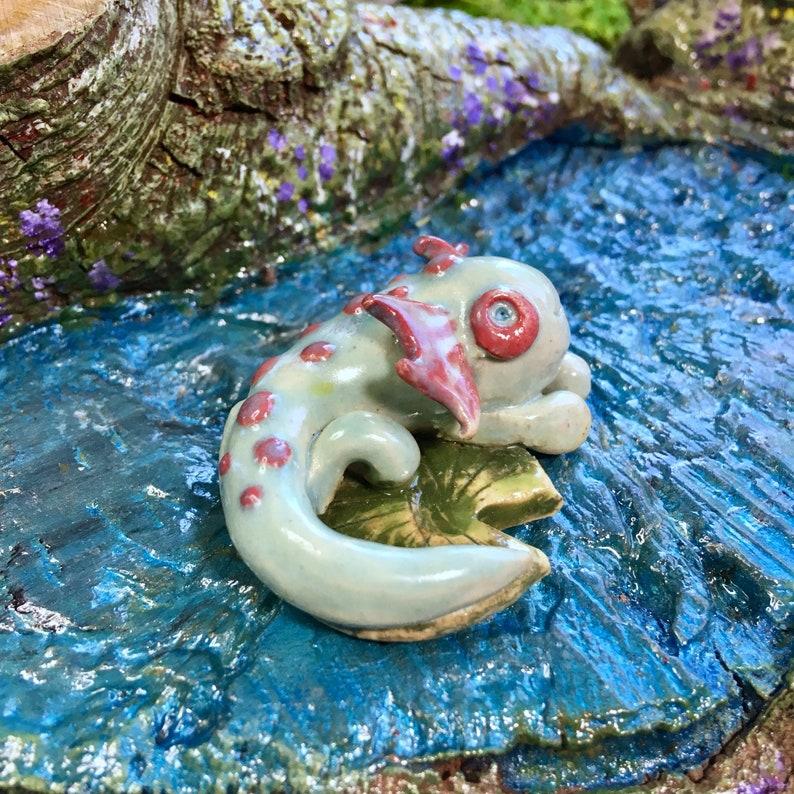 Axolotl Salamander With Lilypad  Aquatic Aquarium Terrarium Amphibian  Water Dragon Handmade Ceramic Magical Fantasy River Creature