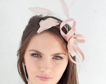 Powder rose feathers headpiece, millinery fascinator, bridesmaid headpiece