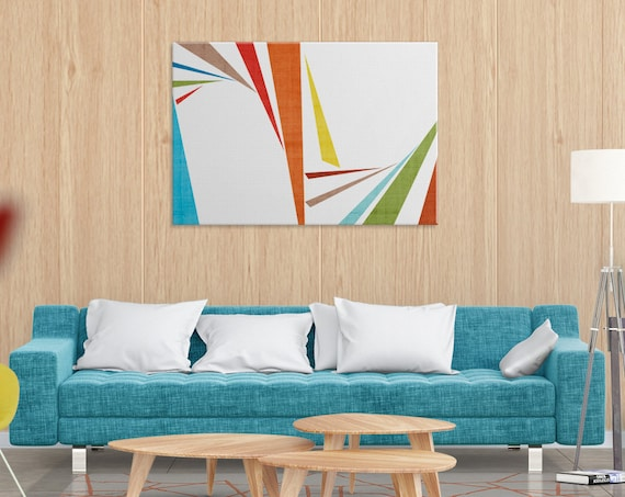 "Colorful art for home and office mid century modern art digital print large wall art minimal white and orange art modern canvas ""Slivers 2"""