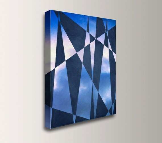 "Abstract Painting - Canvas Print - Giclee Reproduction - Blue Geometric Art Over Clouds -  ""Vanilla Sky"""