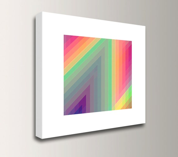 "Neon Green and Hot Pink - Wall Art - Modern Canvas Print - ""Spectrum 3"""