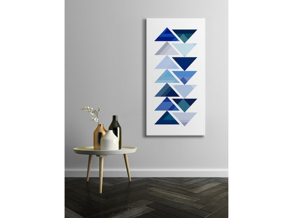 "Tribal Design Canvas, Aztec Style Modern Art Print in Shades of Blue or Purple, Southwestern Geometric Decor, Tall Wall Decor ""Procession"""