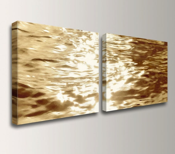 "Beach Art - Canvas Print - Gold Water Reflections - Wall Decor Set - Pair of 2 Canvas Prints - ""Goldwater"""