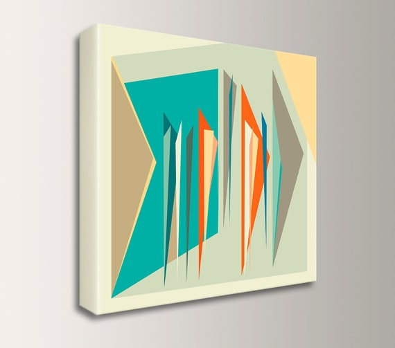 "Abstract Mid Century Art Canvas Print Geometric Square Wall Art Orange Teal Beige and Tan Modern Artwork for Retro Style Home - ""Intermix"""
