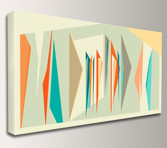 "Mid Century Art, Print, Midcentury Modern, Abstract Art, Canvas Decor - Geometric, Wall Art, Retro Home Decor  - ""Intermix"" Panorama"
