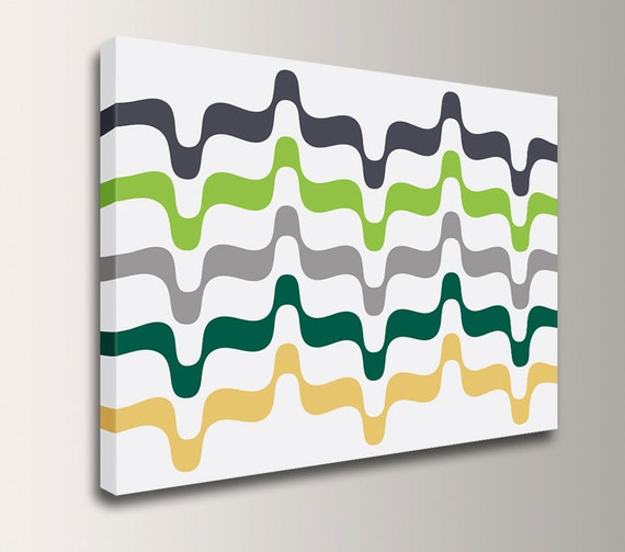 "Mid Century Modern - Emerald and Chartreuse Green Art - Canvas Art Print - Modern Wall Decor - "" Undulation"""