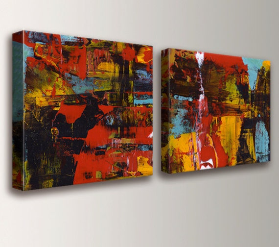 "Abstract Red Painting - Panel Art -  Canvas Prints - Wall Art Set - Abstract Art - Home Decor - ""Medley"""