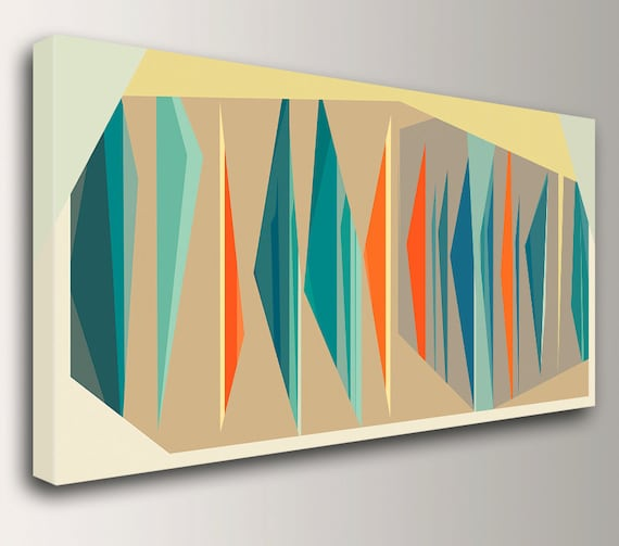 "Mid Century Modern Art in Teal and Orange Large Canvas Print Geometric Wall Art  Vintage Modern Wall Decor "" Multiplex Panorama """