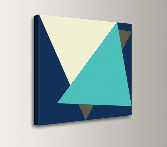 "Blue Canvas Wall Art Aqua and Navy Blue Art Mid Century Retro Modern Wall Decor Minimalist Geometric Modern Art- "" Tuck """