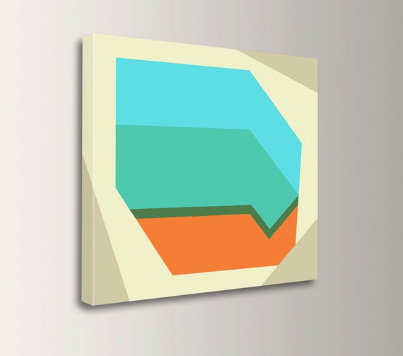 "Retro wall art canvas print wall art mid century art with light blue orange and mint green geometric artwork for the home  ""Derivative"""