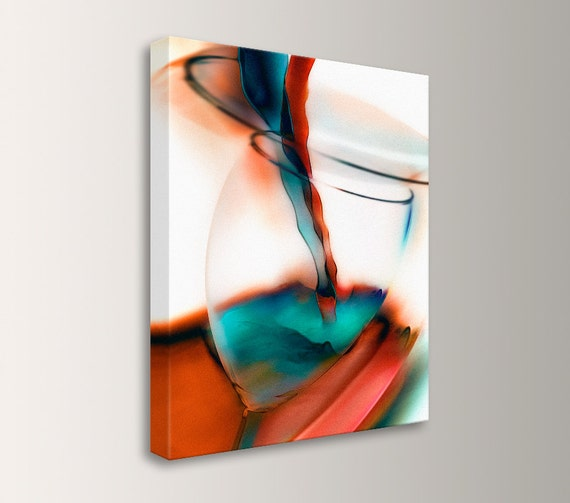 "Wine Art, Mid Century Modern, Wine Glass - Restaurant Decor - Canvas Print, Orange Teal Wall Art - "" Wine """