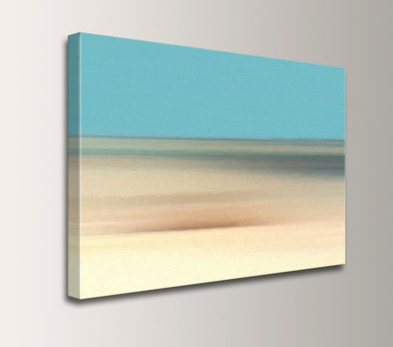 "Beach and Tropical Wall Art in Pale Blue Aqua and Tan with Gray - Digital Giclee Print of Original Painting for Living Room - ""Coastline"""