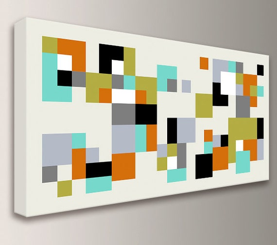"Modern Home Decor Stretched Ready to Hang Canvas Wall Art in Orange, Teal, Green, Black, Tan Colors Minimalist Geometric art  ""Hopscotch"""