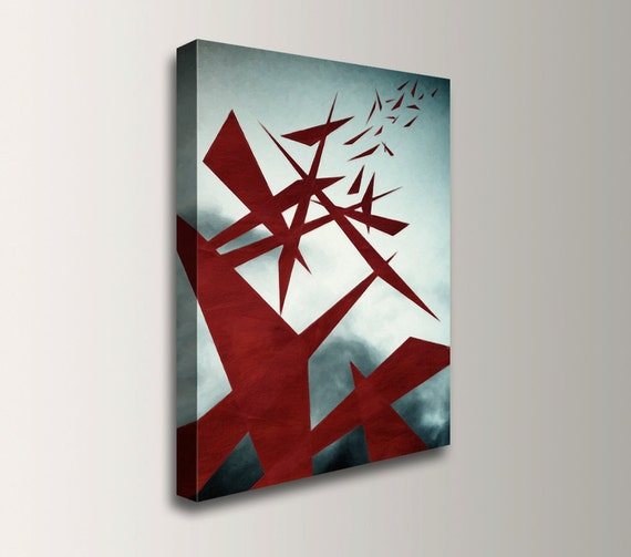 "Modern Art - Big Abstract Painting - Canvas Print - Giclee Reproduction - Red and Blue Grey - Wall Art -  ""Turbulence"""