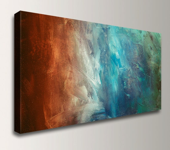 "Abstract Painting Large Wall Art Canvas Print Panoramic Home Decor Wall Art Rust Teal Wall Decor by The Modern Art Shop - ""Reflection"""